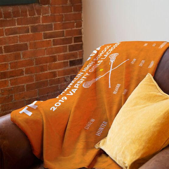 Girls Lacrosse Premium Blanket - Thanks Coach (Horizontal)