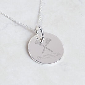 Sterling Silver Lacrosse Crossed Sticks and Name Engraved 20mm Pendant Necklace