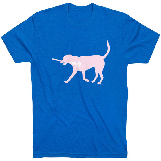 Girls Lacrosse Short Sleeve T-Shirt LuLa the Lax Dog (Pink)