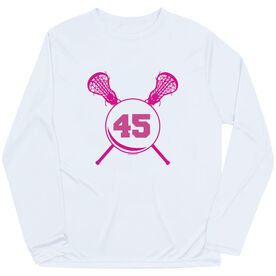 Girls Lacrosse Long Sleeve Performance Tee - Personalized Girls Lacrosse Sticks with Number