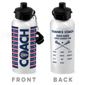 Girls Lacrosse 20 oz. Stainless Steel Water Bottle - Coach With Roster