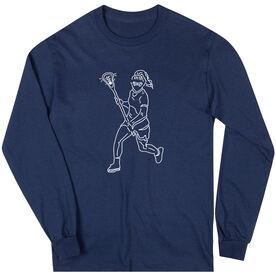 Girls Lacrosse Long Sleeve T-Shirt - Girls Lacrosse Player Sketch