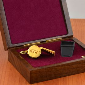 Engravable 24K Gold Coach Whistle In Walnut Case