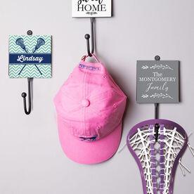 Girls Lacrosse Medal Hook - Personalized Lacrosse Sticks With Chevron Pattern