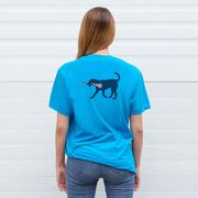 Girls Lacrosse Short Sleeve T-Shirt - LuLa the Lax Dog Blue (Logo Collection)