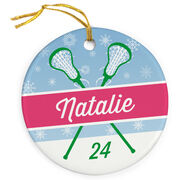 Girls Lacrosse Porcelain Ornament Personalized 2 Tier Patterns with Sticks