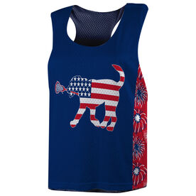 Girls Lacrosse Racerback Pinnie - Patriotic LuLa The Lax Dog