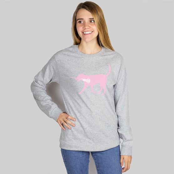 Girls Lacrosse Long Sleeve T-Shirt - LuLa The Lax Dog (Pink)