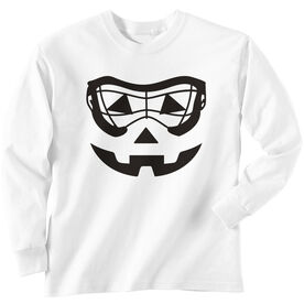 Girls Lacrosse Long Sleeve Tee - Lacrosse Goggle Pumpkin Face