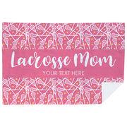 Girls Lacrosse Premium Blanket - Mom Stripe Custom Text