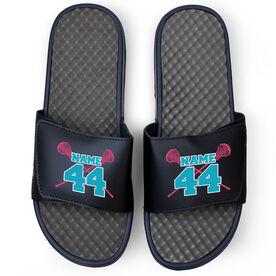 Girls Lacrosse Navy Slide Sandals - Crossed Sticks with Name & Number