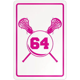 "Lacrosse Aluminum Room Sign Personalized Crossed Sticks And Number Girls (18"" X 12"")"