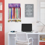 Girls Lacrosse Hooked on Medals Hanger - Lax is Life Watercolor