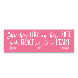 "Girls Lacrosse 12.5"" X 4"" Removable Wall Tile - She Has Fire In Her Soul And Grace In Her Heart"