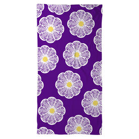Girls Lacrosse Beach Towel Lacrosse Stick Flowers