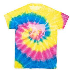 Girls Lacrosse Short Sleeve T-Shirt - LuLa The LAX Dog (Pink) Tie Dye