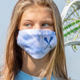 Girls Lacrosse Face Mask - Crossed Sticks with Tie-Dye
