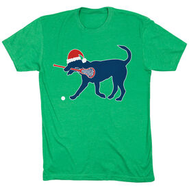 Girls Lacrosse T-Shirt Short Sleeve Christmas Dog