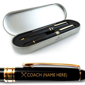 Engraved Lacrosse Coach Black Roller Pen and Ball Point Pen Set
