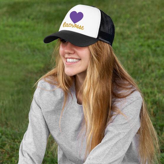 b666e539458b7 Girls Lacrosse Trucker Hat Heart with Gold Glitter ...