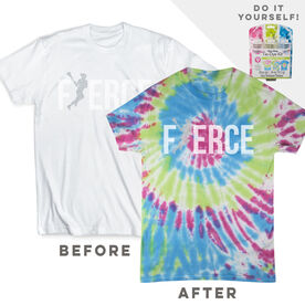 DIY Girls Lacrosse Fierce - White Tee Ready for Tie-Dye
