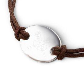 Sterling Silver Cord Bracelet Lacrosse Crossed Sticks Number
