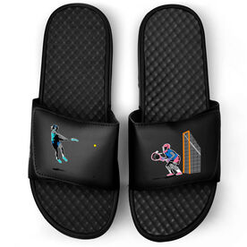 Girls Lacrosse Black Slide Sandals - Go For The Goal