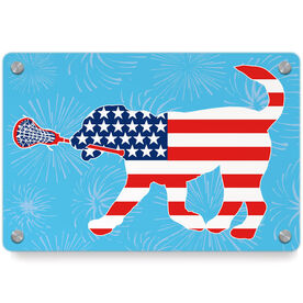 Girls Lacrosse Metal Wall Art Panel - Patriotic LuLa the Lax Dog