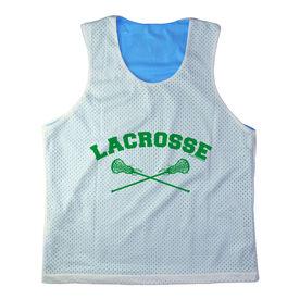 Girls Racerback Pinnie Lacrosse With Crossed Sticks Green