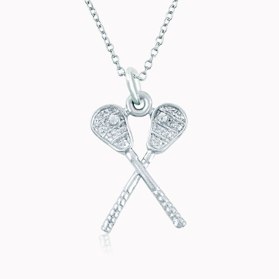 Silver Crossed Lacrosse Sticks Necklace