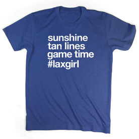 Girls Lacrosse Short Sleeve T-Shirt - Sunshine Tan Lines Game Time