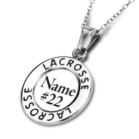 Lacrosse Circle Necklace Your Name Your Number