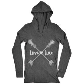 Girls Lacrosse Lightweight Performance Hoodie Love Lax Crossed Arrows