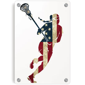 Girls Lacrosse Metal Wall Art Panel - Play Lax For The USA