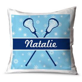 Girls Lacrosse Throw Pillow Personalized Lacrosse Winter Wonderland