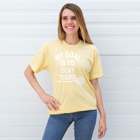 Girls Lacrosse Short Sleeve T-Shirt - My Goal Is To Deny Yours Goalie Stick