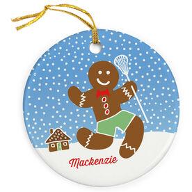 Girls Lacrosse Porcelain Ornament Lax Gingerbread Man