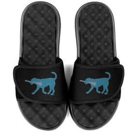 Girls Lacrosse PR SOLES® Adjustable Strap Recovery Slide Sandals - Lexi the Lax Dog