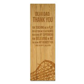"Girls Lacrosse 12.5"" X 4"" Engraved Bamboo Removable Wall Tile - Dear Dad"