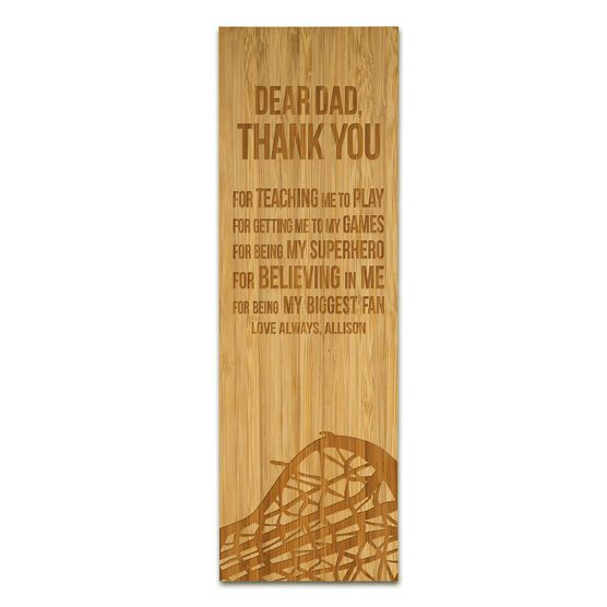 """Girls Lacrosse 12.5"""" X 4"""" Engraved Bamboo Removable Wall Tile - Dear Dad"""