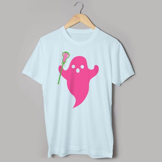 Girls Lacrosse Short Sleeve Tee - Pink Ghost with lacrosse Stick