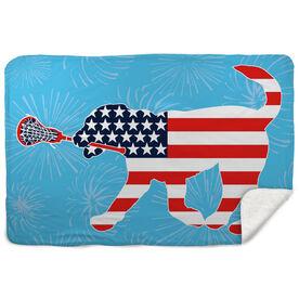 Girls Lacrosse Sherpa Fleece Blanket Patriotic LuLa the Lax Dog