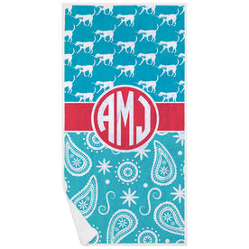 Girls Lacrosse Premium Beach Towel - LuLa Paisley with Monogram