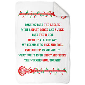 Girls Lacrosse Sherpa Fleece Blanket - Jingle All The Way