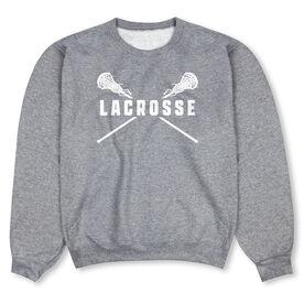 Girls Lacrosse Crew Neck Sweatshirt - Lacrosse Crossed Girl Sticks
