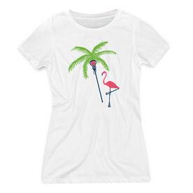 Girls Lacrosse Women's Everyday Tee - Palm Tree and Flamingo