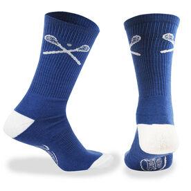 Lacrosse Woven Mid-Calf Socks - Crossed Sticks (Blue)