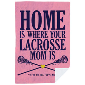 Girls Lacrosse Premium Blanket - Home Is Where Your Lacrosse Mom Is