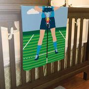 Girls Lacrosse Baby Blanket - Lacrosse Player