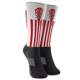Girls Lacrosse Printed Mid-Calf Socks - Patriotic Lacrosse